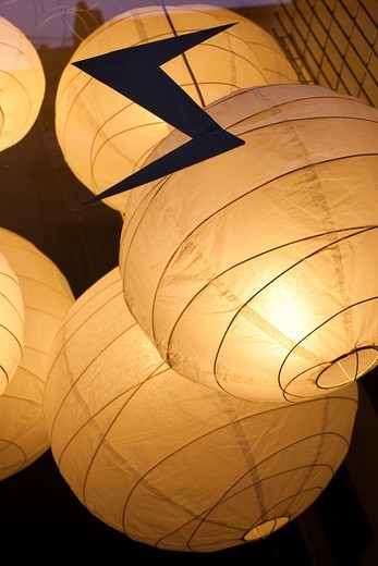 France, Moselle, Lorraine Region, Metz, shop window paper lanterns : Stock Photo
