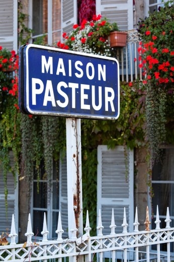 France, Jura Department, Franche-Comte Region, Arbois, sign for the Maison Pasteur, home of scientist Louis Pasteur : Stock Photo