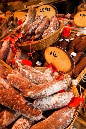 France, Aquitaine Region, Dordogne Department, Sarlat-la-Caneda, covered market, sausages : Stock Photo