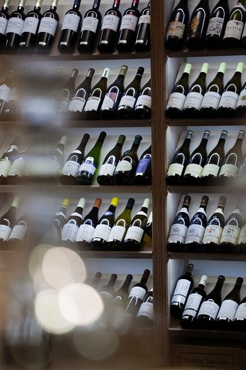 Stock Photo: 1566-709557 France, Aquitaine Region, Gironde Department, St-Emilion, wine town, detail of wine merchant shop