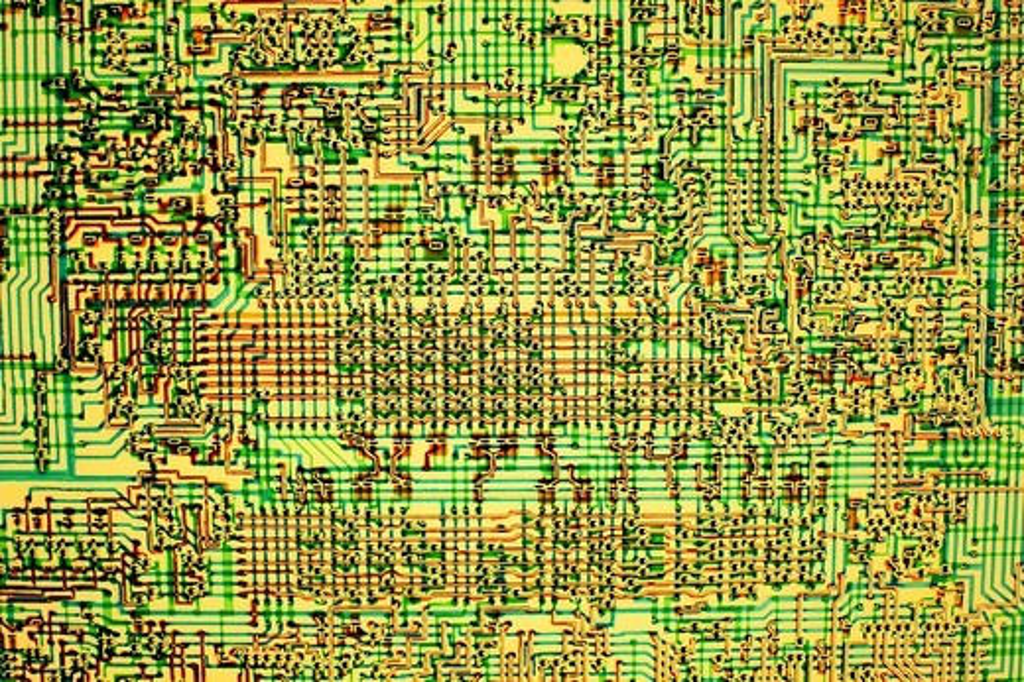 Stock Photo: 1566-710019 USA, California, Santa Clara, Intel Museum, detail of integrated circuit