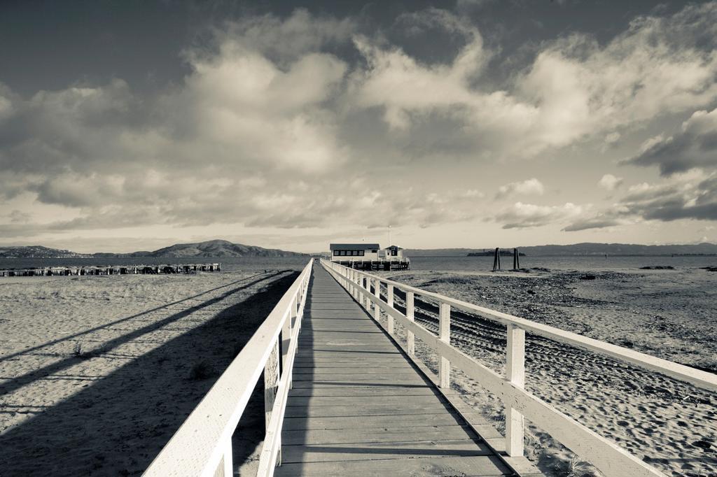 USA, California, San Francisco, Presidio, Golden Gate National Recreation Area, Crissy Field pier, morning : Stock Photo