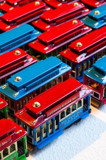Stock Photo: 1566-710151 USA, California, San Francisco, miniature San Francisco cable car toys