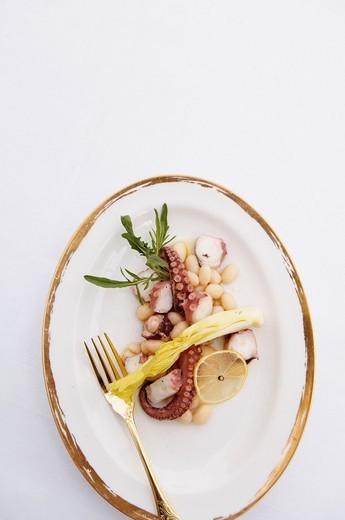Stock Photo: 1566-711308 France, Principality of Monaco, Monte Carlo, Grand Hotel de Paris, restaurant le Louis XV, Franck Cerutti, chef 3* Michelin, octopus salad with coconut and Arugula