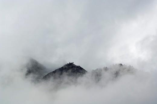 Clouds shroud Washington Dome, Yosemite National Park, California : Stock Photo