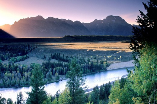 Stock Photo: 1566-712367 Sunset over the Teton Range mountains from the Snake River Overlook, Grand Teton National Park, WYOMING