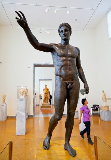 Stock Photo: 1566-712485 Antikythera Ephebe bronze statue in the National Archaeological Museum, Athens, Greece