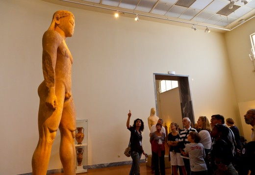 Archaic sculpture of Kouros, National Archaeological Museum, Athens, Greece : Stock Photo