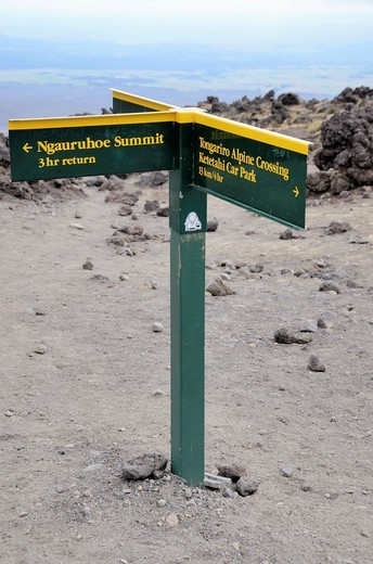 Stock Photo: 1566-713534 Sign on Tongariro Crossing at the point where you climb Mount Ngauruhoe Tongariro National Park Central Plateau, North Island New Zealand