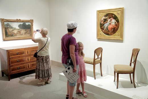 Florida, St  Petersburg, Beach Drive, St  Petersburg Museum of Fine Arts, woman, mother, girl, daughter, furniture, painting, grandmother, taking picture, : Stock Photo