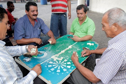 Panama, Panama City, Bella Vista, Via Espana, sidewalk, barrio, neighborhood hangout, dominoes, dominos, tile game, Hispanic, man, adult, middle-age, senior, loitering, street corner, : Stock Photo