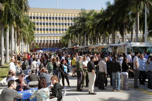 Florida, Miami, Street Food Fridays, gourmet food truck, trucks, vans, popular, crowd, lines, queues, : Stock Photo