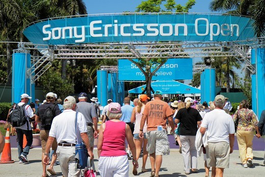 Stock Photo: 1566-714250 Florida, Key Biscayne, Sony Ericsson Open, professional tennis tournament, entrance, sporting event,