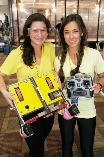 Florida, Miami, Shops at Midtown Miami, Battlebots IQ Tournament, battling robots, robotics, competition, student, teen, female, girl, : Stock Photo