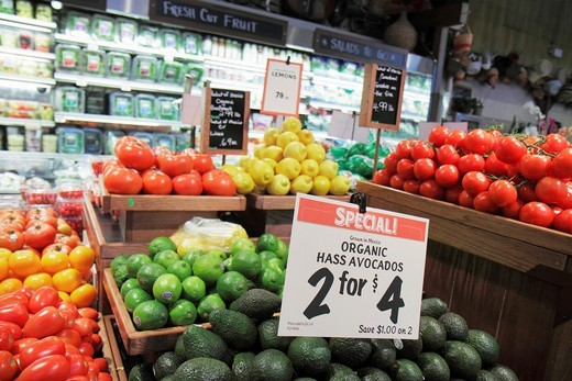 Florida, Miami, Coconut Grove, The Fresh Market, grocery store, produce, avocados, : Stock Photo