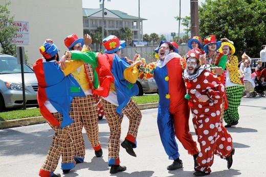 Stock Photo: 1566-714348 Florida, Miami, Hallandale, South Florida Jewish Community, Lag B´omer Jewish Unity Parade & and Fair, Jew, clowns, dancing,