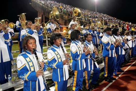 Florida, Miami, Miami Dade College North Campus, Traz Powell Stadium, high school football playoff game, Northwestern vs  Central, Black, student, band, teen, male, female, perform, : Stock Photo
