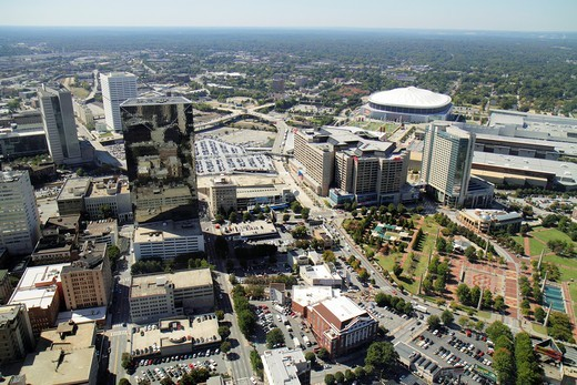 Stock Photo: 1566-715018 Georgia, Atlanta, downtown, Westin Peachtree Plaza, Sun Dial Restaurant, revolving restaurant, view, building, skyline, skyscraper, street, Georgia Dome, Centennial Tower, park, bird´s-eye view, panoramic,