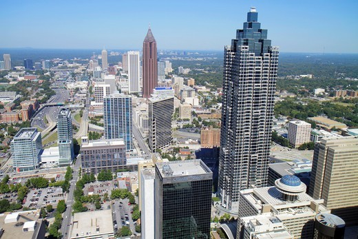 Georgia, Atlanta, downtown, Westin Peachtree Plaza, Sun Dial Restaurant, revolving restaurant, view, building, skyline, skyscraper, street, SunTrust Plaza, bird´s-eye view, Bank of America Tower, landmark, downtown, : Stock Photo