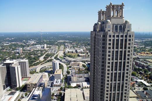 Stock Photo: 1566-715024 Georgia, Atlanta, downtown, Westin Peachtree Plaza, Sun Dial Restaurant, revolving restaurant, view, building, skyline, skyscraper, street, bird´s-eye view, 191 Peachtree Tower, landmark,