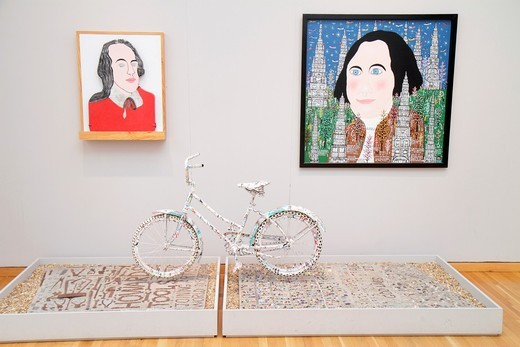 Georgia, Atlanta, High Museum of Art, gallery, collection, exhibition, artwork, contemporary, painting, installation, Howard Finster, Gospel Bike, 1776, ´George Washington, 6903´, folk art, : Stock Photo