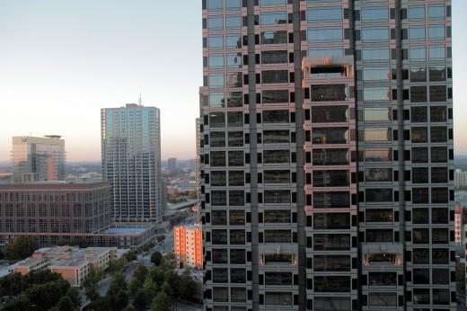 Georgia, Atlanta, view from Atlanta Hyatt Regency, downtown, skyline, office building, Sun Trust Plaza, windows, glass, reflection, downtown, : Stock Photo