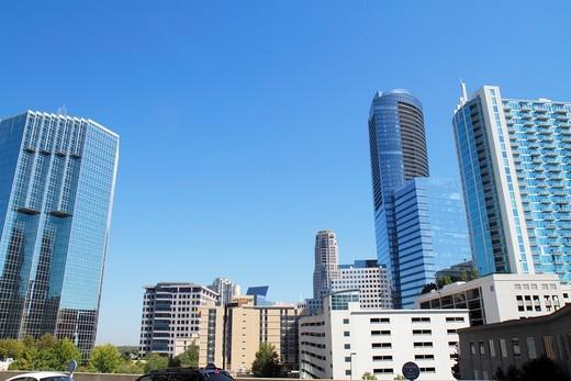 Stock Photo: 1566-715069 Georgia, Atlanta, Buckhead, Peachtree Street, skyscraper, high rise, office building, upscale, commercial, real estate, modern, architecture, design, lines, shapes, skyline,