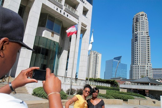 Georgia, Atlanta, Buckhead, Peachtree Street, skyline, skyscraper, high rise, office building, upscale, Capital City Plaza, Black, man, woman, take picture, architecture, design, : Stock Photo