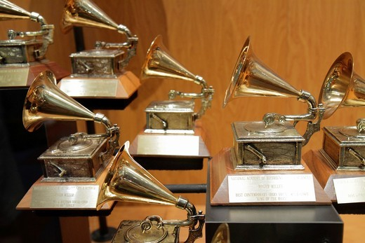 Tennessee, Nashville, Country Music Hall of Fame and & Museum, attraction, music industry, preservation, exhibition, display case, memorabilia, award, Grammy, trophy, : Stock Photo