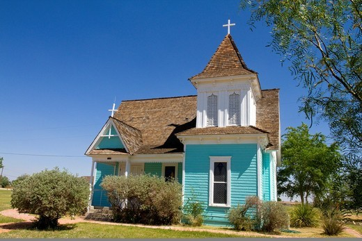 Saint Stephens Episcopal Chruch at Historic old Fort Stockton Park, Texas, USA : Stock Photo
