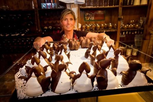 Stock Photo: 1566-717265 Waitress serves iced penguin cakes, Ramos Generales cafe, Ushuaia, Argentina.