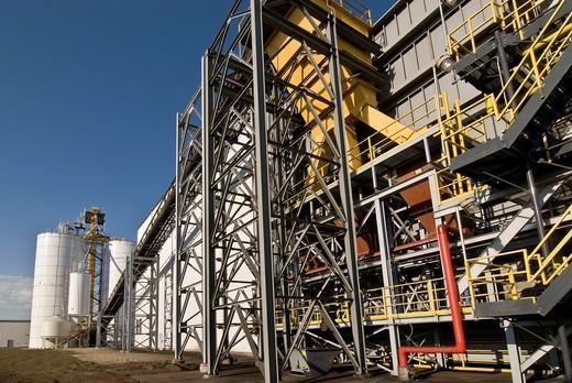 Coal island with conveyor at ethanol plant, Richardton, North Dakota : Stock Photo