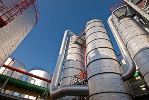Ethanol plant distillation process equipment with beer column, rectifier, side stripper, Richardton, North Dakota : Stock Photo