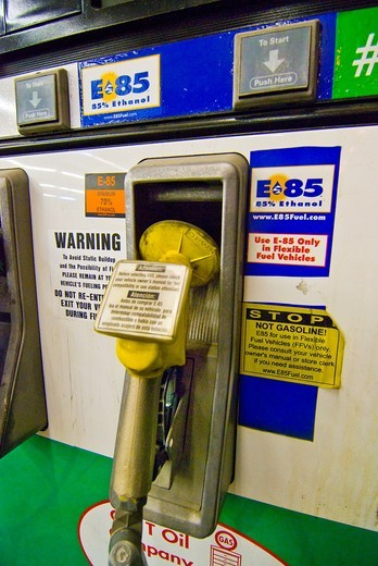 Stock Photo: 1566-717415 E85 Ethanol fuel pump at retail gasoline station for use in flex fuel vehicles, Tucson Arizona