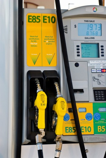 Ethanol fuel pumps, E85, E10, at retail fuel station, Minden Nevada : Stock Photo