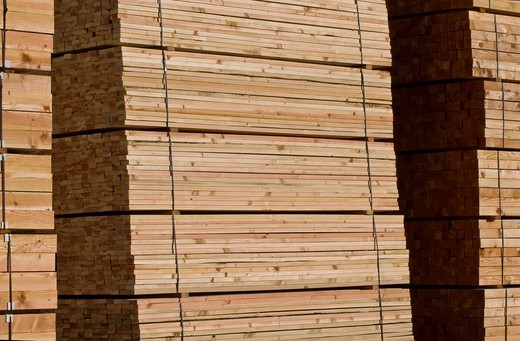 Stock Photo: 1566-717460 Lumber pile at sawmill, Humboldt County, California