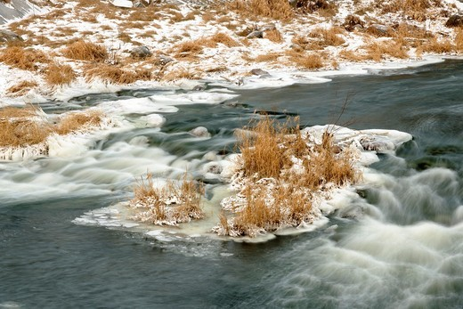 Stock Photo: 1566-718267 Junction Creek rapids with a dusting of snow Greater Sudbury Ontario