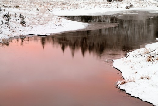 Junction Creek at dawn in early winter Greater Sudbury Ontario : Stock Photo