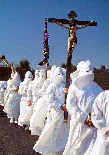 Holy Week procession, Bercianos de Aliste, Zamora province, Castilla-Leon, Spain : Stock Photo