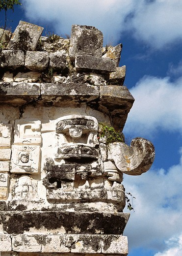 Mayan Rain God ´Chac´ Chaac also spelled Chac or, in Classic Mayan, Chaahk is the name of the Maya rain deity  With his lightning axe, Chaac strikes the clouds and produces thunder and rain  Chaac corresponds to Tlaloc among the Aztecs : Stock Photo