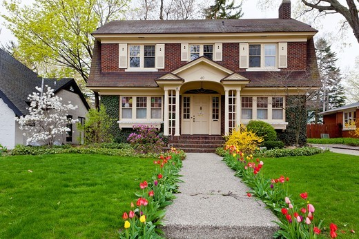 A two story vintage home with tulip flowers in Holland, Michigan, USA. : Stock Photo
