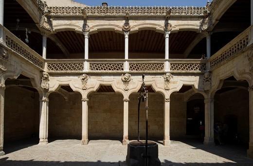 Casa de las Conchas, House of the shells, patio, Salamanca, Castilla y León, Spain : Stock Photo