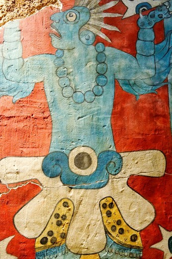 Olmeca-Xicalanca Central Mexican Maya  Late Classic period  Reconstruction of murals from Cacaxtla in Tlaxcala The National Museum of Anthropology Museo Nacional de Antropología  Mexico city capital  Mexico // : Stock Photo