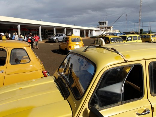 Yellow taxi  The airport  Antsiranana, named Diego-Suarez prior to 1975, is a city at the northern tip  Capital of Diana Region  Madagascar  Indian Ocean : Stock Photo