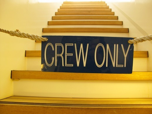 A locked stairs on a cruise ship, crew only : Stock Photo
