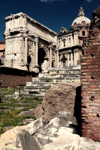 Rome  Forum Romanum and Santa Luca church : Stock Photo