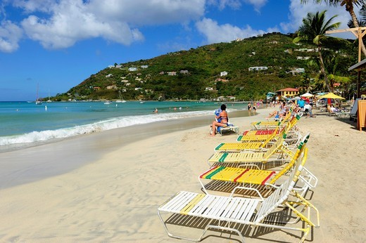 Stock Photo: 1566-723969 Cane Garden Bay Beach Tortola BVI Caribbean Cruise Lounge Chairs