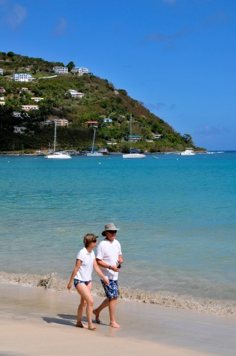 Couple Walks Cane Garden Bay Beach Tortola BVI Caribbean Cruise : Stock Photo