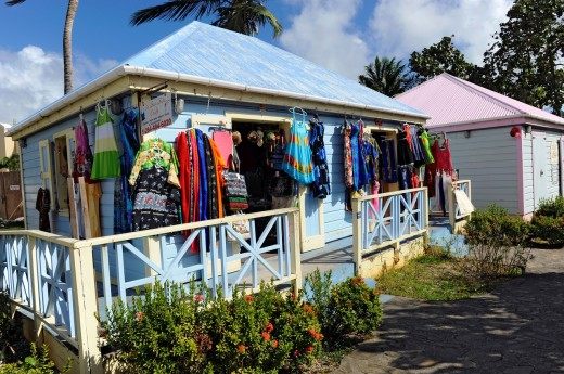 Stock Photo: 1566-724002 Gift Shops Road Town Tortola BVI Caribbean Cruise Colorful