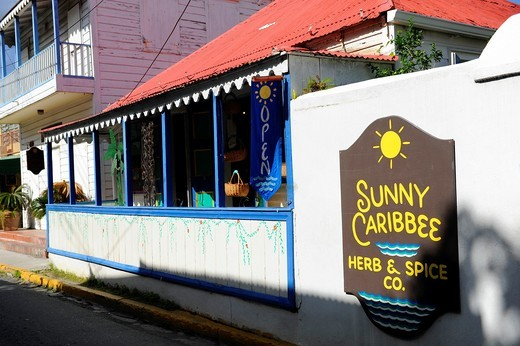 Stock Photo: 1566-724018 Herb and Spice Gift Shop Road Town Tortola BVI Caribbean Cruise Colorful